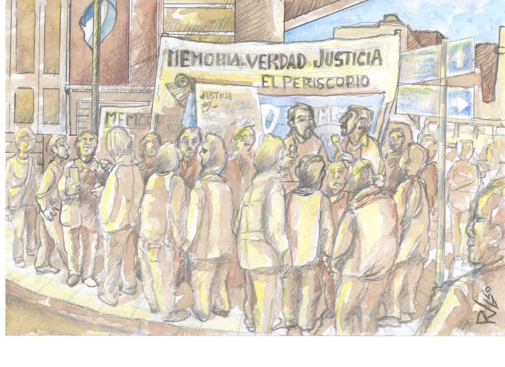La victoria en el Juicio de Coronda 11 de mayo 2018 festejo de la sentencia en la puerta del tribunal de Sabta Fe dibujo Raul  Viso